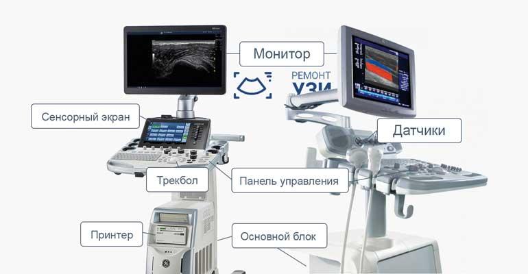 Основные элементы устройства УЗИ аппарата